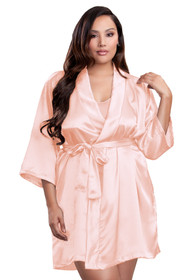 Zynotti plus size wedding getting ready bridal party kimono peach satin robe for bride, bridesmaids, maid of honor, matron of honor, mother of the bride and mother of groom