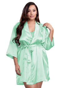 Zynotti plus size wedding getting ready bridal party kimono mint green satin robe for bride, bridesmaids, maid of honor, matron of honor, mother of the bride and mother of groom