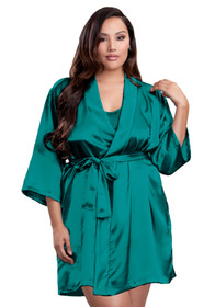 Zynotti plus size wedding getting ready bridal party kimono teal green satin robe for bride, bridesmaids, maid of honor, matron of honor, mother of the bride and mother of groom