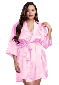 Zynotti plus size wedding getting ready bridal party kimono pink satin robe for bride, bridesmaids, maid of honor, matron of honor, mother of the bride and mother of groom