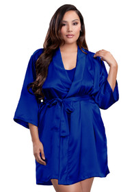 Zynotti plus size wedding getting ready bridal party kimono royal blue satin robe for bride, bridesmaids, maid of honor, matron of honor, mother of the bride and mother of groom