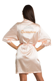 Zynotti Custom Rhinestone Quinceanera with Tiara Peach Satin Robe