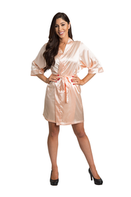 Zynotti Peach Satin Robe