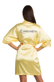 Zynotti custom metallic print quinceanera yellow satin robe