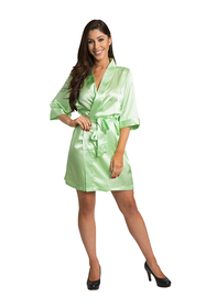 Zynotti lime green satin robe