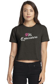 Zynnotti charcoal grey rose crop t-shirt for quinceanera