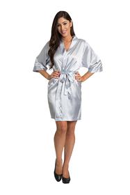Zynotti Silver Grey Satin Kimono Robe
