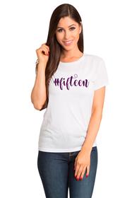 Zynotti Custom Glitter #fifteen White Tee for Quinceanera