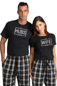 Zynotti Hubs and Wife Black Tee Shirt Top Matching Couple Flannel Pajama Pants Set