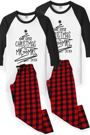Zynotti Matching Couple Our First Christmas Flannel Pajama Set