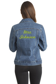 Zynotti Custom Embroidered Jean Jacket Mrs. Cropped
