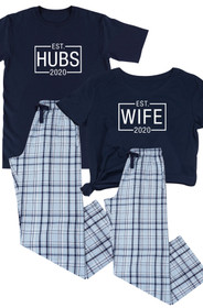 Blue Plaid Flannel Matching Couple Hubs & Wife Pajamas