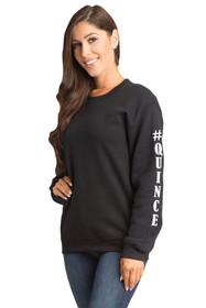#Quince Crewneck Pullover Sweatshirt  in Black | La Quinceañera