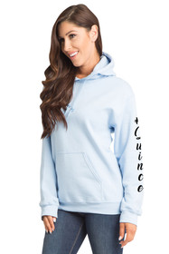 #Quince Pull-Over Hooded Sweatshirt in Light Blue Cropped Side Image | La Quinceañera