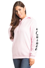 #Quince Pull-Over Hooded Sweatshirt in Pink Cropped Side Image | La Quinceañera