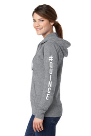 #Quince Full-Zip Hooded Sweatshirt in Athletic Grey Crop Side Image | La Quinceañera