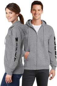 Hubby & Wifey Couples Matching Full-Zip Athletic Grey Sweatshirt Set