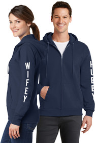Hubby & Wifey Couples Matching Full-Zip Navy Sweatshirt Set