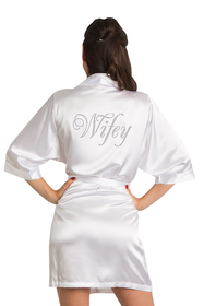 Zynotti's Rhinestone Wifey Satin Robe in White
