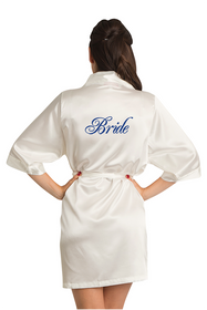 Zynotti Custom Embroidered Bride Ivory Satin Kimono Robe