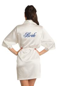 Zynotti Custom Embroidered Bride Ivory Satin Kimono Robe