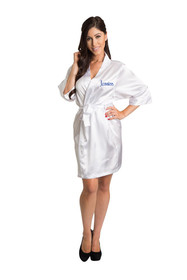 Personalized Embroidered White Robe Full