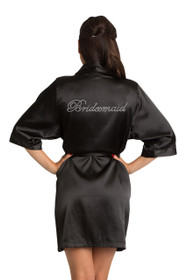 Rhinestone Bridesmaid Black Robe