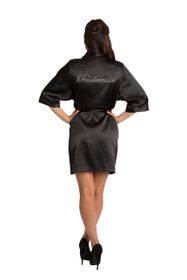 Rhinestone Bridesmaid Black Satin Robe