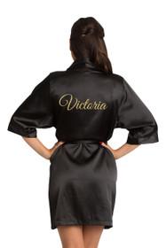 Zynotti's Personalized Black Glitter Print Robe
