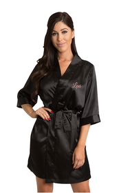 Personalized Black Embroidered Satin Robe