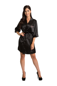Personalized Black Embroidered Print Satin Robe