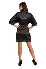 Personalized Black Rhinestone Lace Satin Robe