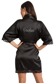 Personalized Black Rhinestone Lace Robe