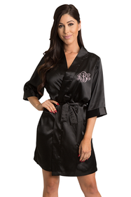 Personalized Black Embroidered Monogram Robe