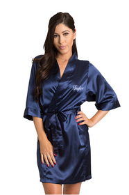 Personalized Embroidered Navy Robe Front Crop