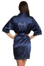 Personalized Rhinestone Navy Lace Robe
