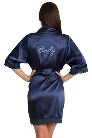Personalized Rhinestone Navy Lace Robe