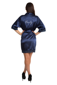 Personalized Rhinestone Navy Lace Satin Robe
