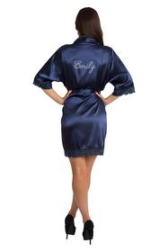 Personalized Rhinestone Navy Lace Satin Robe