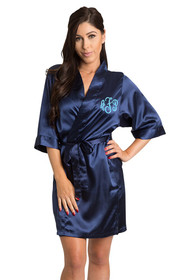 Personalized Monogram Navy Satin Robe