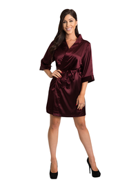 Embroidered Burgundy Satin Robe
