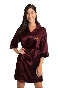 Personalized Embroidered Burgundy Satin Robe