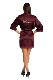 Personalized Rhinestone Lace Burgundy Satin Robe
