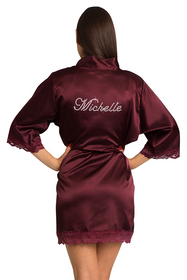 Custom Rhinestone Burgundy Lace Robe