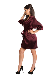 Personalized Embroidered Monogram Burgundy Satin Robe