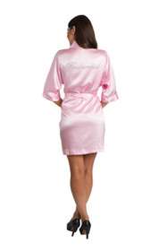 Rhinestone Bridesmaid Pink Satin Robe