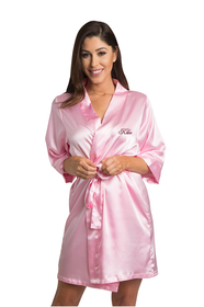 Personalized Embroidered Pink Satin Robe