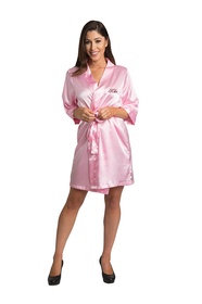 Personalized Embroidered Satin Pink Robe