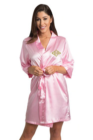 Personalized Embroidered Monogram Pink Robe