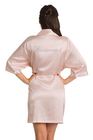 Rhinestone Bridesmaid Blush Satin Robe